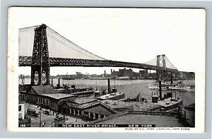 New-York-City-NY-New-East-River-Bridge-Vintage-New-York-c1905-Postcard