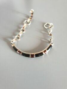 Armband-tolle-Form-schwarz-braun-925-Silber-auffaellig-22-36-g-edel-CP6090