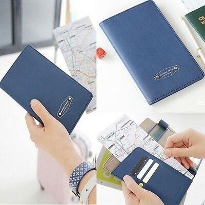 Journey Travel Long Passport Case Wallet Pocket Holder Keeper Bag Dark Blue