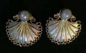 Vintage-925-Sterling-Silver-amp-Pearl-Scalloped-Shell-Filigree-Earrings