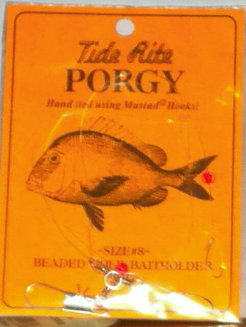 4 PORGY RIGS SCUP TIDE RITE R461-1 BEADED HI-LO RIG SALTWATER  FISHING MUSTAD