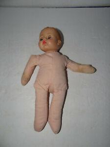 Vintage-Cloth-Body-Doll-Plastic-Head-Sleepy-Blue-Eyes-Open-Mouth-1964