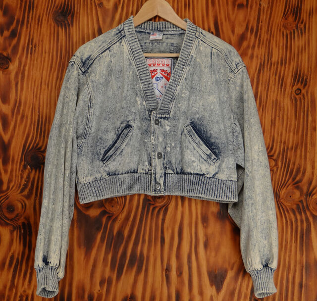 Jean Jacket  80s Acid Wash Cropped Baseball Jacket ID#  Los Angeles