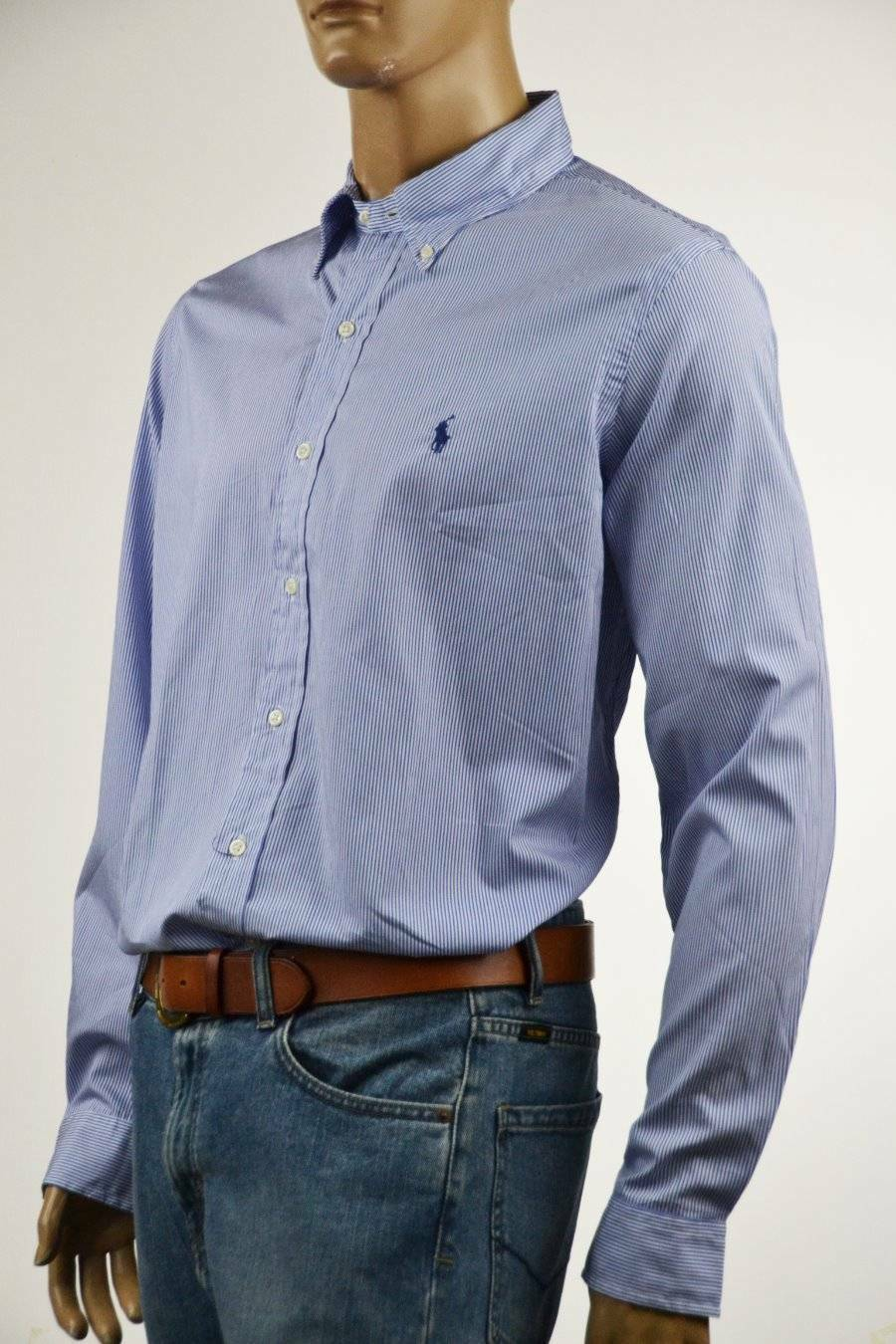 Ralph Lauren bluee Stripe Cotton Long Sleeve Shirt -bluee Pony-NWT-XLarge