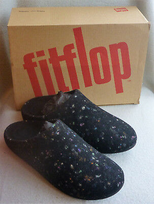 74e007faab4b Fitflop Chrissie Speckle Black Wool Slip On Mule Ladies Clog Slippers Box  Size 7