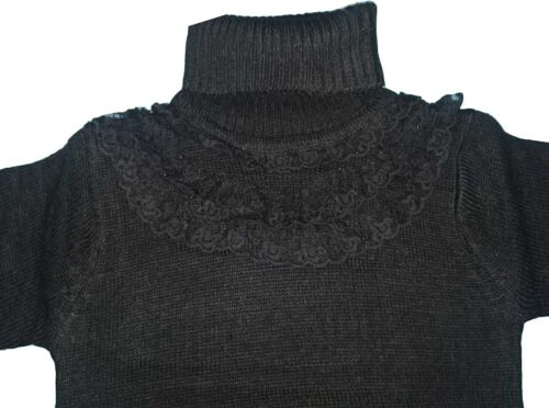 New Girls Knitted Long Sleeve Jumper Sweater Top Cardigan 2-12ys Black Pink #205