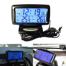 Car Indoor Outdoor Digital LCD Dual Thermometer Temperature Meter Alarm Clock