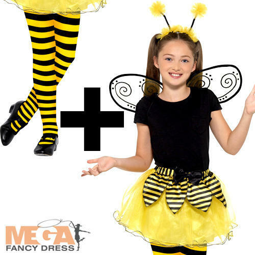 Tights Girls Fancy Dress Bug Insect Animal Childrens Kid Costume Bumblebee Kit