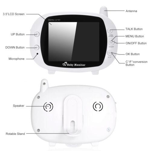 "2 Way Audio 2.4G 3.5/"" Digital Wireless Video Baby Monitor Night Vision Camera"