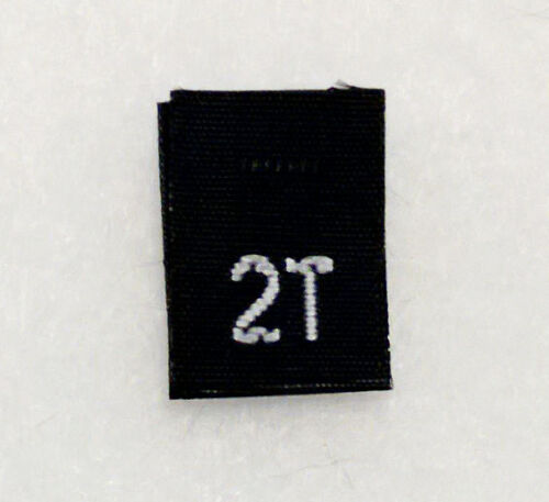 size 2T Two Toddler in BLACK-Qty 1000 clothing woven labels tags tab
