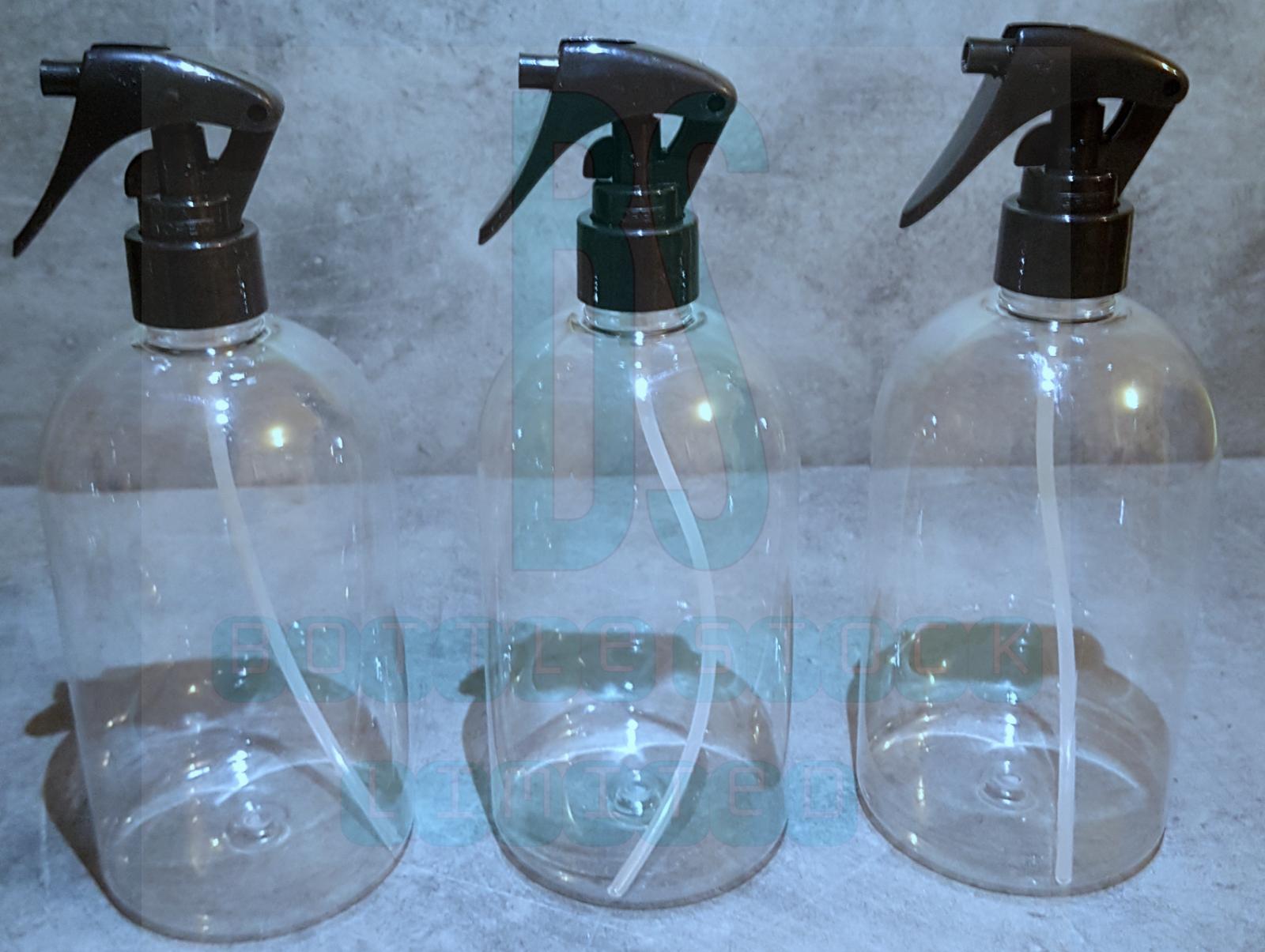 3 x 500ml Empty Plastic Mini Trigger Bottle Cleaning Hand Spray Garden Clear Pet