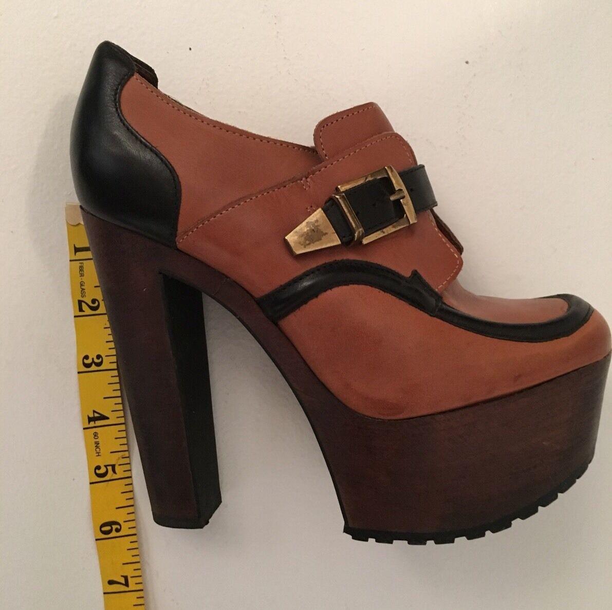 ASOS Brown Leather Platform Heel Booties shoes Sz 9
