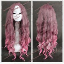 Women's Long Taro Pink Wavy Curly Anime Cosplay Wigs Ombre Color Wig+Wig Cap