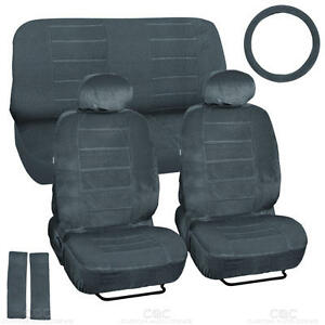 Car Seat Covers Gray Regal Velour Front and Rear Bench 9 Piece Full Set