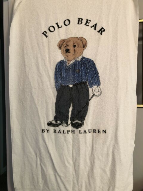 Polo Bear Ralph Lauren Golf Beach Towel Golfer White 35x68