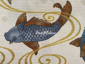 Details About Koi Fish On Ivory Gold Metallic 1 2 Yard Pure Cotton Fabric