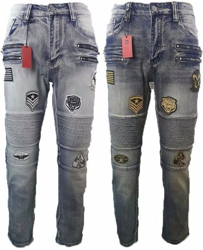 VICTORIOUS MENS PATCH ZIPPER BIKER DENIM JEANS HIGH END STRETCH DL1036
