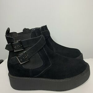 Tuk Sz 8 Black Suede Ankle Bucked Pull On Womens Goth boots Rave Grunge Punk