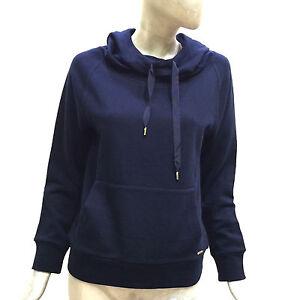 a384749a27 Dettagli su Woolrich Felpa con Cappuccio Blu da Donna in Cotone Manica  Lunga WWFEL0999