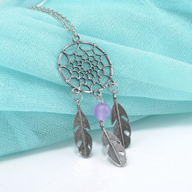 Bohemian BOHO Dream Catcher Net Silver Alloy Sapphire Feather Pendant Necklace