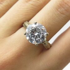 925 Sterling Silver Large Brilliant Round Cut C Z Engagement Ring Size 9