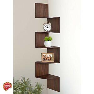 Floating Corner Shelf Wood Texture Wall Mount Bookshelf Bookcase Home Office New Ebay