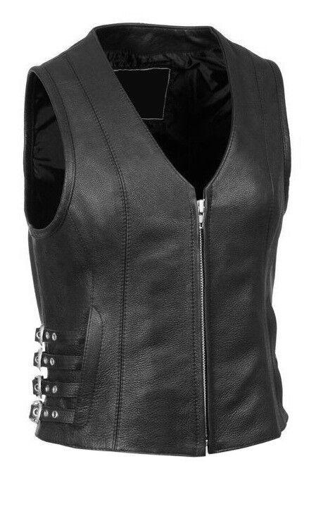 Womens Leather Motorcycle Vest Ladies Bikers Vest Waistcoat -W7