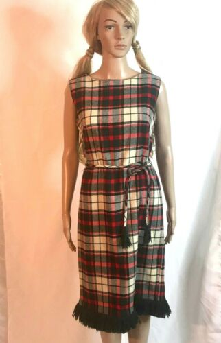 Seaton Hall green red plaid dress with fringe Scoo