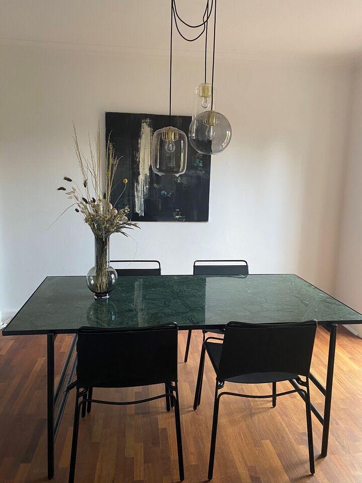 Spisebord m/stole, Marmor, b: 90 l: 180