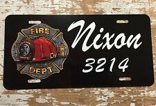 Personalized License Plate Car Tag Name Custom Fireman Fire Dept New