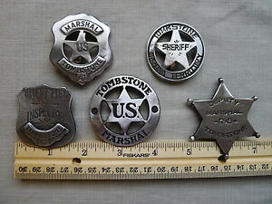THE TOMBSTONE COLLECTION 5 DIFFERENT BADGES (BADGES THE OLD WEST) FREE SHIPPING