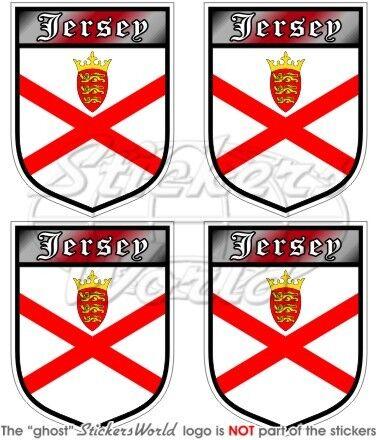 """2/"""" JERSEY Scudo Britannico Isole del Canale Bretagna Adesivi 50mm Stickers x4"""