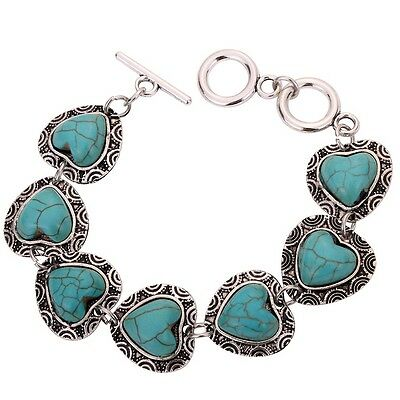 Charming party Jewelry Tibet Silver Chain Bracelet full Heart Turquoise Bangle