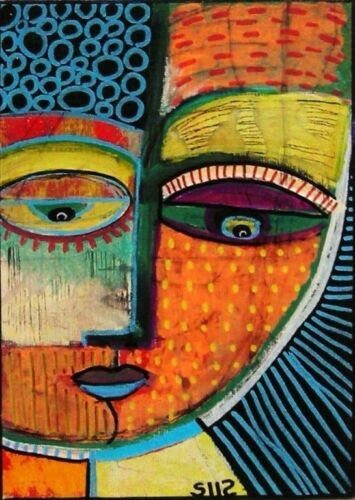 Sandra Silberzweig Eyes  Face  Abstract 8 X 10 on Flat 8.5 X 11 inch Canvas