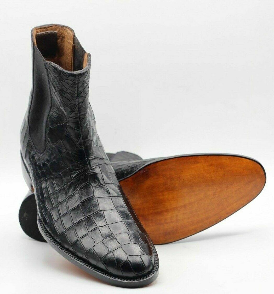 Schwarze handgefertigte schwarze Chelsea-Lederstiefel mit Krokodil-Print