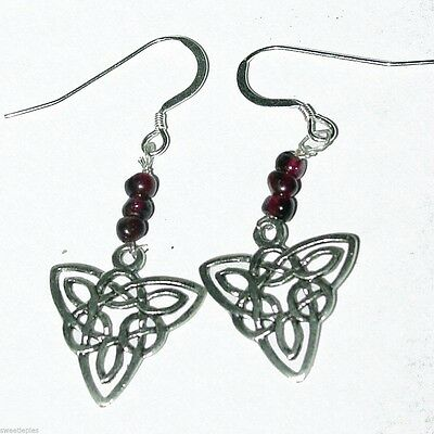 Natural Garnet 925 Sterling Silver Triquetra Celtic Knot Circle Dangle Earrings
