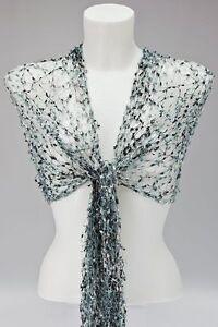WRAP cobweb mesh wedding fair trade Viscose NEW SILVER GREY NET SCARF SHAWL