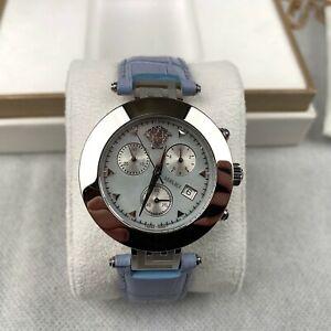 New-Versace-Women-039-s-Wrist-Watch-Quartz-Silver-Blue-Leather-Strap-Analogue-Swiss