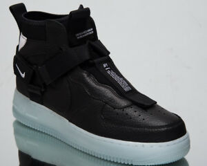 Details about Nike Air Force 1 Utility Mid Men's New Black Half Blue Casual Shoes AQ9758 001