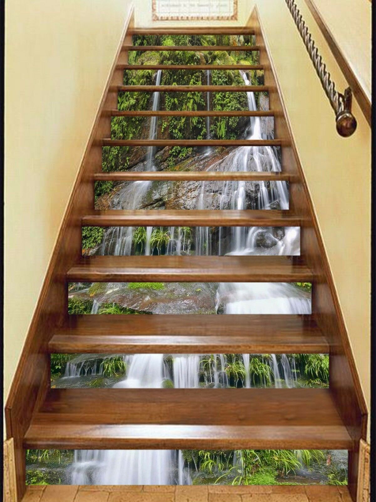 3D Cliff Streams 39 Stair Risers Decoration Photo Mural Vinyl Decal Wallpaper AU