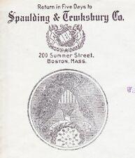 Spaulding Tewksbury Co Boston Paper Mill Not Common 1900 Flag C Cover   ²