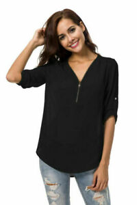 Fashion-Women-V-Neck-Loose-Blouse-Casual-Shirt-Summer-Chiffon-Tops-T-Shirt