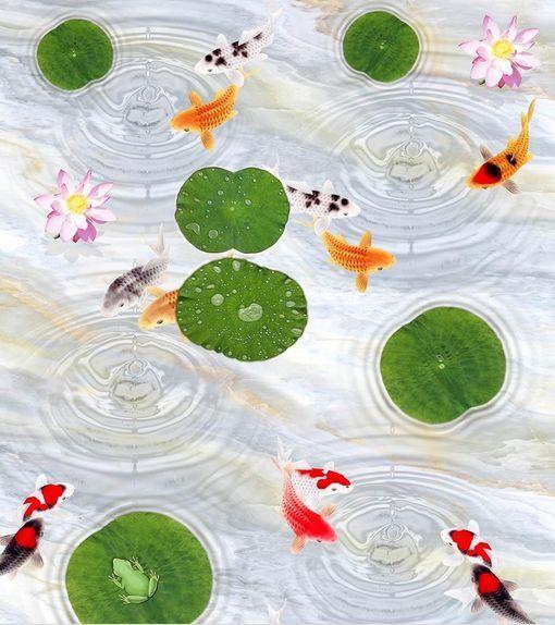 3D Lotus orofish Ondulación Papel Pintado Mural Parojo Calcomanía de impresión de piso 5D AJ Wallpaper