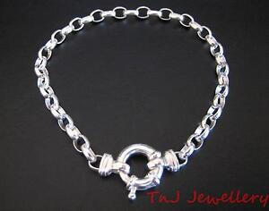 NEW-Solid-925-Sterling-Silver-Oval-Belcher-Ladies-Bracelet-With-Euro-Bolt-Ring