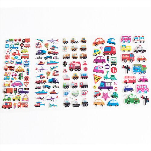 6 Sheets Kids Cartoon Sticker Diary Transport Notebook Sticker Decoration、Fad