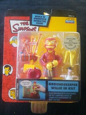 Simpsons Groundskeeper Willie in Kilt Action Figure Series 14 MOC RARE WOS Toy