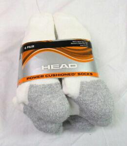 SIZE 12+ WHITE MEN/'S CUSHION NWOT 6 PACK COSTCO HEAD POWER CUSHIONED SOCKS