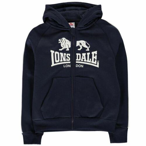 Lonsdale 2 Stripe Zip Hoody Youngster Boys Hoodie Hooded Top Full Length Sleeve