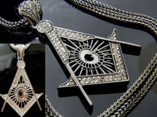 Mason Symbol Masonic G Compass Pendant Iced Out Hip Hop Franco Chain Necklace