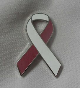 badge. ***NEW*** Lung Cancer Awareness ribbon enamel white keyring Charity